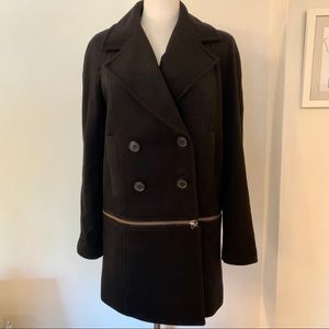Convertible 2 in 1 Cashmere Wool Peacoat